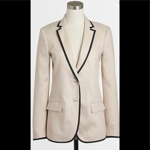 J Crew Tipped Linen Blazer Size 6 Blush Navy $158